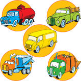 Variety of machines. A picture of some utility vehicles. Illustration done in cartoon style on separate layers Royalty Free Stock Photos