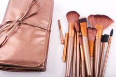 Variety of makeup brushes. Different size over white background Stock Images