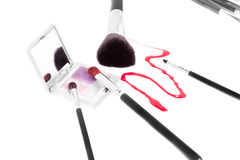 Variety of makeup brushes Royalty Free Stock Image