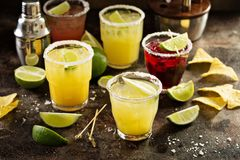 Variety of margarita cocktails Stock Photos