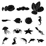 A variety of marine animals black icons in set collection. For design. Fish and shellfish vector symbol stock  illustration Stock Photo