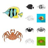 A variety of marine animals cartoon,black,flat,monochrome,outline icons in set collection for design. Fish and shellfish. Vector symbol stock  illustration Royalty Free Stock Photography