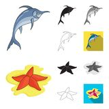 A variety of marine animals cartoon,black,flat,monochrome,outline icons in set collection for design. Fish and shellfish. Vector symbol stock  illustration Royalty Free Stock Photo
