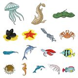 A variety of marine animals cartoon icons in set collection for design. Fish and shellfish vector symbol stock web. A variety of marine animals cartoon icons in Stock Photos