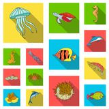A variety of marine animals flat icons in set collection for design. Fish and shellfish vector symbol stock web. A variety of marine animals flat icons in set Stock Photo