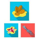 A variety of marine animals flat icons in set collection for design. Fish and shellfish vector symbol stock web. A variety of marine animals flat icons in set Royalty Free Stock Images