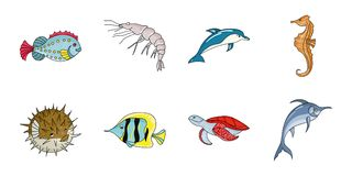 A variety of marine animals icons in set collection for design. A variety of marine animals icons in set collection for design. Fish and shellfish vector symbol Stock Photo