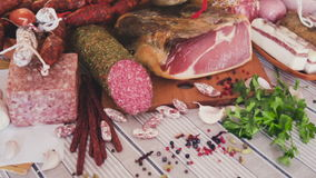 A variety of meat dishes on the table. Delicious variety of meats on table stock footage