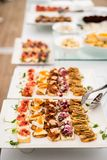 Variety of meat and fish canapes Royalty Free Stock Photography