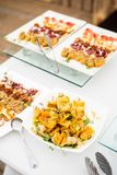 Variety of meat and fish canapes Stock Photos