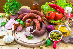 Variety meat products vegetables Stock Photos
