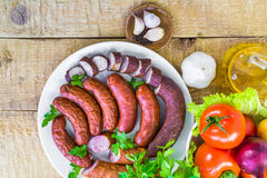 Variety meat products vegetables Royalty Free Stock Photo