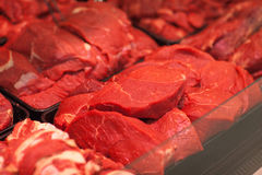 Variety of meat slices in boxes in supermarket Royalty Free Stock Photos