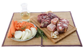 Variety of meat, vegetables and wine Stock Photos