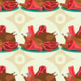 Variety of meats seamless background design Stock Photography