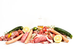 Variety meats on a white background Stock Images
