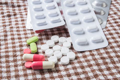 A variety of medicinal tablets Stock Images