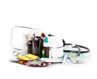 A variety of medicine. And stethoscope on white background Royalty Free Stock Image