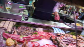 Variety of Mediterranean seafood on counter spanish market. stock footage