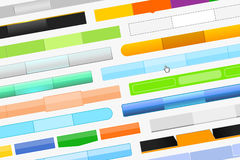 A variety of menu bars for website. And cursor-hand, on gray background. Beautiful design of web pages Royalty Free Stock Photo
