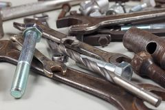 Variety of metal tools for repairing machinery closeup. Variety of metal tools for repairing machinery close up Royalty Free Stock Photography