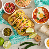 Variety of mexican cuisine dishes on a table Royalty Free Stock Photography