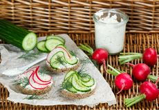 Variety of mini sandwiches with cream cheese, radish , cucumber, dill and spices. Picnic snacks. Selective focus Stock Image