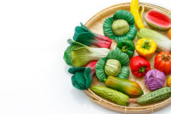 Variety of miniature clay vegetables Stock Image