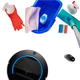 Variety of modern cleaning items Stock Photos