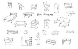 Variety of modern home furnitures hand drawing illustration Royalty Free Stock Photography