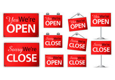Variety modern open close plate sign on isolated white background Royalty Free Stock Image