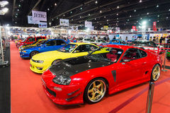Variety of modified sport cars on display Stock Image