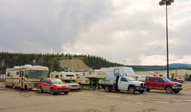 A variety of motor-homes resting at a walmart parking lot in northern canada Royalty Free Stock Image