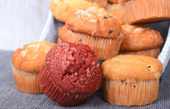 Variety of muffins in a basket Stock Photos
