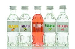 Variety of natural flavoured Finlandia vodka isolated on white background Stock Images