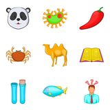 Variety of nature icons set, cartoon style. Variety of nature icons set. Cartoon set of 9 variety of nature vector icons for web isolated on white background Royalty Free Stock Photos
