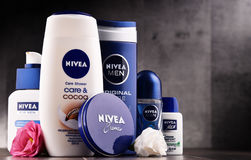 Variety of Nivea products including creme and soap. POZNAN, POLAND - AUG 11, 2017: Nivea is a German personal care brand that specializes in skin- and body-care Royalty Free Stock Photography