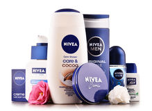 Variety of Nivea products including creme and soap. POZNAN, POLAND - AUG 11, 2017: Nivea is a German personal care brand that specializes in skin- and body-care Royalty Free Stock Photos