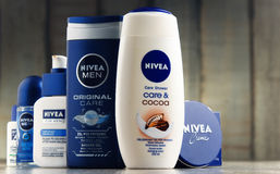 Variety of Nivea products including creme and soap Royalty Free Stock Photography