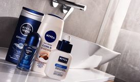 Variety of Nivea products including creme and soap. POZNAN, POLAND - NOV 10, 2017: Nivea products, German personal care brand that specializes in skin- and body Stock Photo