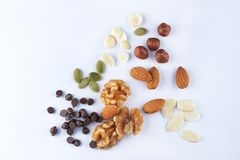 Variety Of Nut. On clean background stock photo