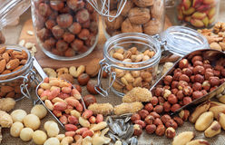 Variety of nuts composition Stock Images