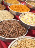 A variety of nuts in the glaze: peanuts, hazelnuts, chestnuts, walnuts, pistachio and pecans. Royalty Free Stock Photography