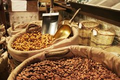 Variety of nuts on gourmet market Stock Images