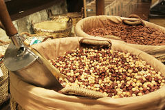 Variety of nuts on gourmet market. Variety of nuts on an specialized gourmet market Stock Photo