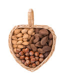 Variety of nuts in heart shape basket Stock Photography
