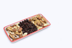 Variety of nuts and raisins, close up Royalty Free Stock Images