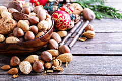 Variety of nuts with shells for Christmas Royalty Free Stock Photography