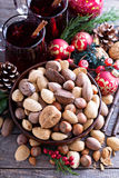 Variety of nuts with shells for Christmas Royalty Free Stock Images