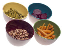 Variety Of Canned Vegetables In Bowls Royalty Free Stock Photos